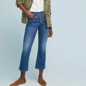Anthro Pilcro High Rose Cropped Jeans